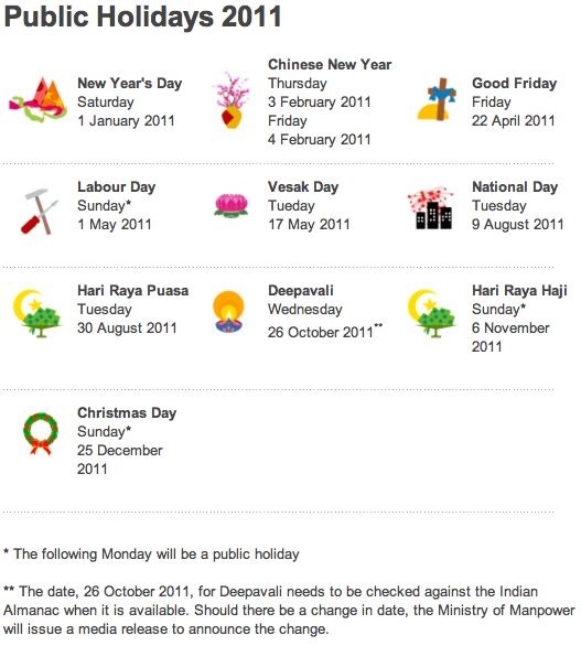 Singapore Public Holidays 2011 : Singapore Public Holidays 2011 in ...